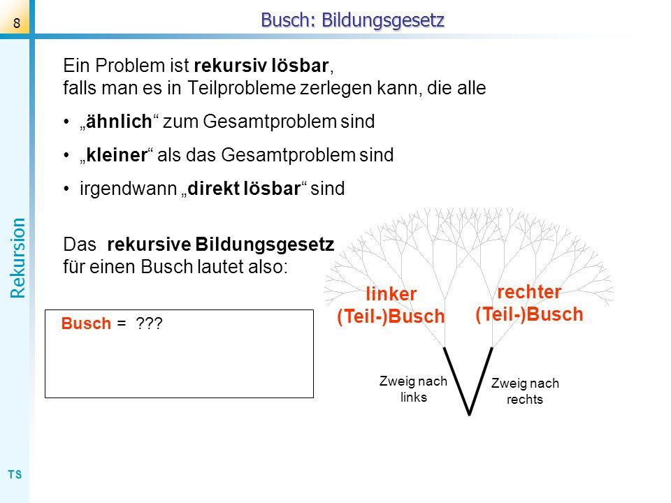 TS Rekursion 59 Fibonacci (Aufrufstruktur) Aufruf der Fibonacci-Funktion: function fib(n: integer): integer; begin if n > 2 then fib := fib(n-1) + fib(n-2) else fib := 1 end; fib(5) + fib(4) fib(4) + fib(3) fib(3)+fib(2) fib(2)+fib(1) a := fib(6) 1 2 1 3 fib(2)+fib(1) 1 1 2 5 fib(3) + fib(2) fib(2)+fib(1) 1 2 3 Beachte: Durch den zweifachen rekursiven Aufruf von fib entsteht eine (unvollständige) Baumstruktur mit 2-facher Verzweigung.