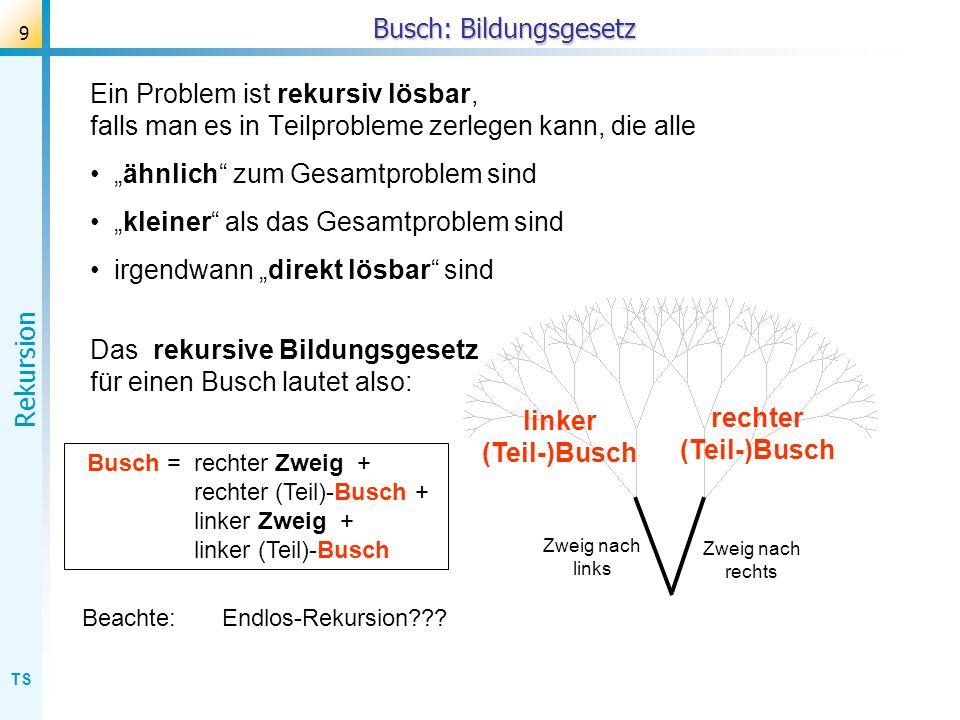TS Rekursion 9 Busch: Bildungsgesetz Ein Problem ist rekursiv lösbar, falls man es in Teilprobleme zerlegen kann, die alle ähnlich zum Gesamtproblem s