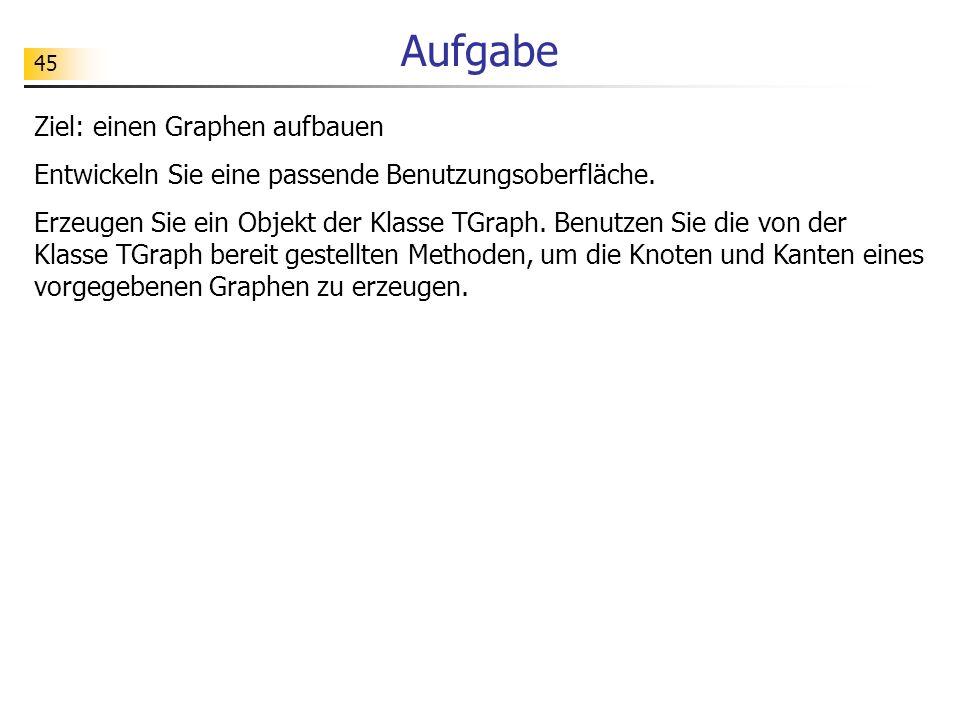 45 Aufgabe Ziel: einen Graphen aufbauen Entwickeln Sie eine passende Benutzungsoberfläche. Erzeugen Sie ein Objekt der Klasse TGraph. Benutzen Sie die