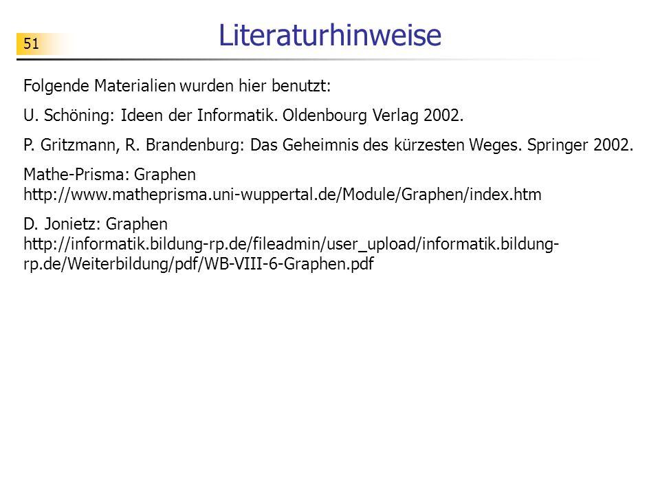51 Literaturhinweise Folgende Materialien wurden hier benutzt: U. Schöning: Ideen der Informatik. Oldenbourg Verlag 2002. P. Gritzmann, R. Brandenburg