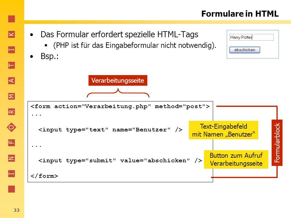 I N F O R M A T I K 33 Formulare in HTML Das Formular erfordert spezielle HTML-Tags (PHP ist für das Eingabeformular nicht notwendig). Bsp.:...... Ver