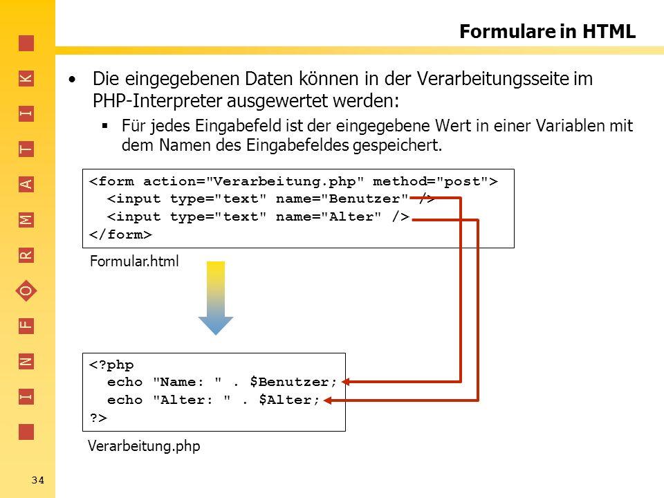I N F O R M A T I K 34 Formulare in HTML Die eingegebenen Daten können in der Verarbeitungsseite im PHP-Interpreter ausgewertet werden: Für jedes Eing