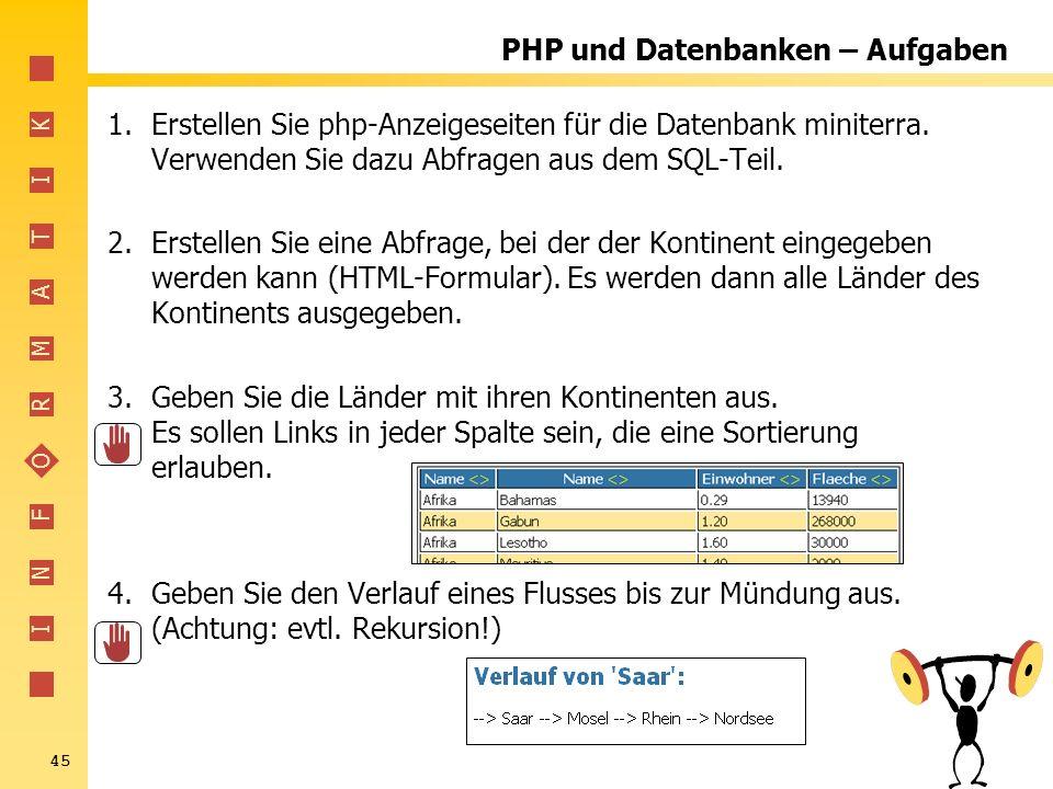 I N F O R M A T I K 45 PHP und Datenbanken – Aufgaben 1.Erstellen Sie php-Anzeigeseiten für die Datenbank miniterra. Verwenden Sie dazu Abfragen aus d
