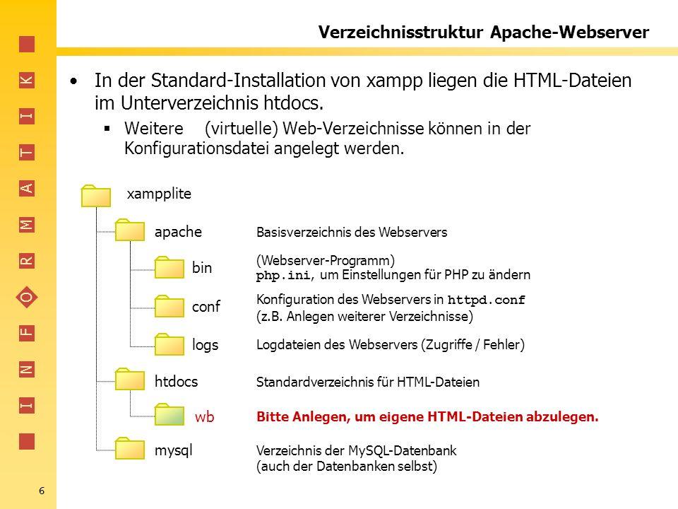 I N F O R M A T I K 37 Zugriff auf MySQL über PHP Grundlegende Schritte jedes Datenbankzugriffs in PHP: 1.Verbindung mit dem Datenbanksystem aufbauen Ergebnis der Verbindung ist eine Variable (Handle), mit der auf die Verbindung zugegriffen werden kann.