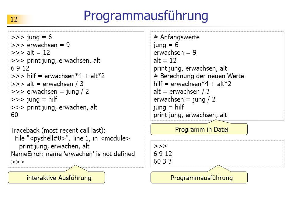 12 Programmausführung >>> jung = 6 >>> erwachsen = 9 >>> alt = 12 >>> print jung, erwachsen, alt 6 9 12 >>> hilf = erwachsen*4 + alt*2 >>> alt = erwac