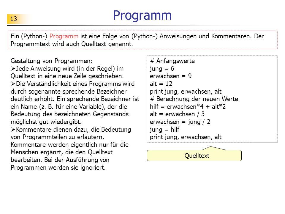 13 Programm # Anfangswerte jung = 6 erwachsen = 9 alt = 12 print jung, erwachsen, alt # Berechnung der neuen Werte hilf = erwachsen*4 + alt*2 alt = er