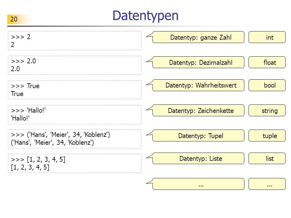 20 Datentypen >>> 2 2 Datentyp: ganze Zahlint >>> 2.0 2.0 >>> True True >>> 'Hallo!' 'Hallo!' >>> ('Hans', 'Meier', 34, 'Koblenz') ('Hans', 'Meier', 3