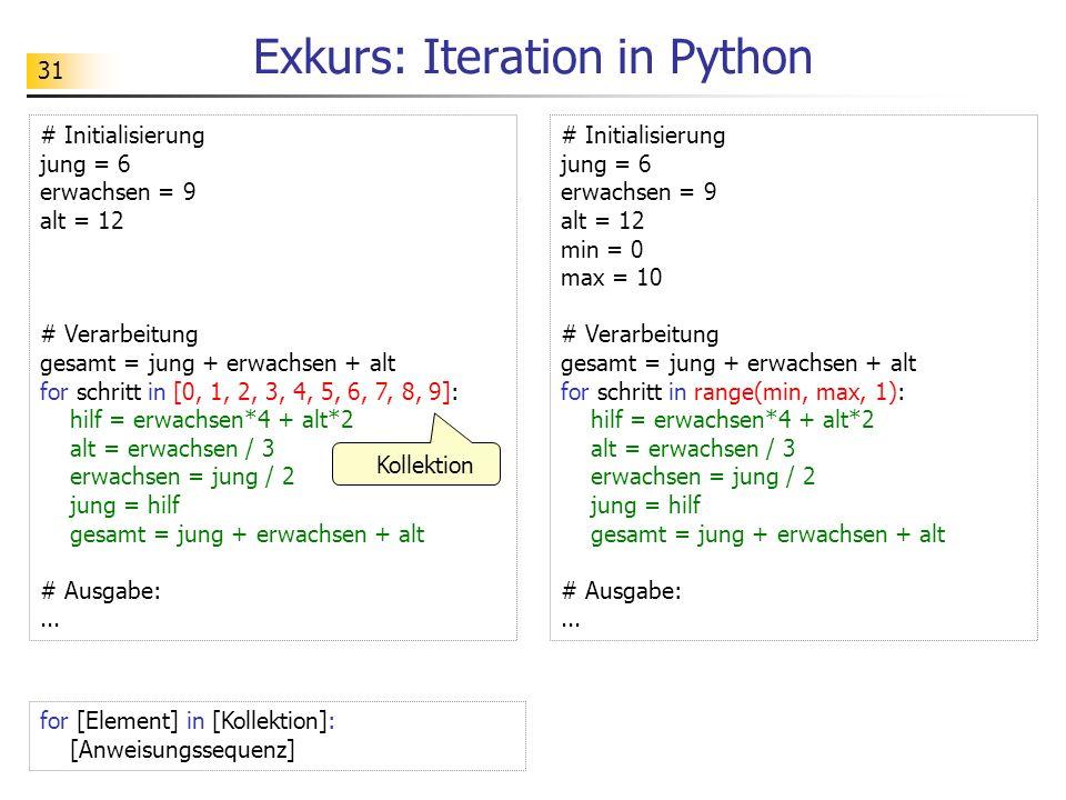 31 Exkurs: Iteration in Python # Initialisierung jung = 6 erwachsen = 9 alt = 12 # Verarbeitung gesamt = jung + erwachsen + alt for schritt in [0, 1, 2, 3, 4, 5, 6, 7, 8, 9]: hilf = erwachsen*4 + alt*2 alt = erwachsen / 3 erwachsen = jung / 2 jung = hilf gesamt = jung + erwachsen + alt # Ausgabe:...