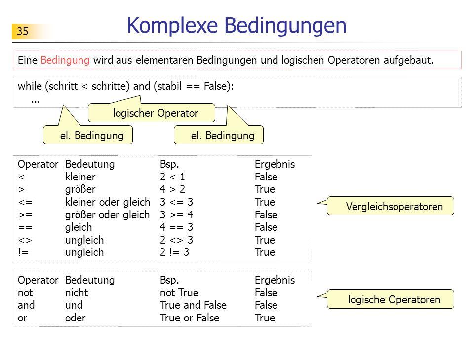 35 Komplexe Bedingungen Eine Bedingung wird aus elementaren Bedingungen und logischen Operatoren aufgebaut. el. Bedingung while (schritt < schritte) a