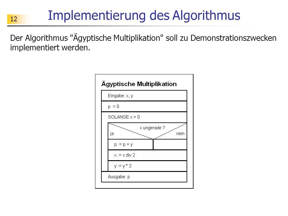 12 Implementierung des Algorithmus Der Algorithmus