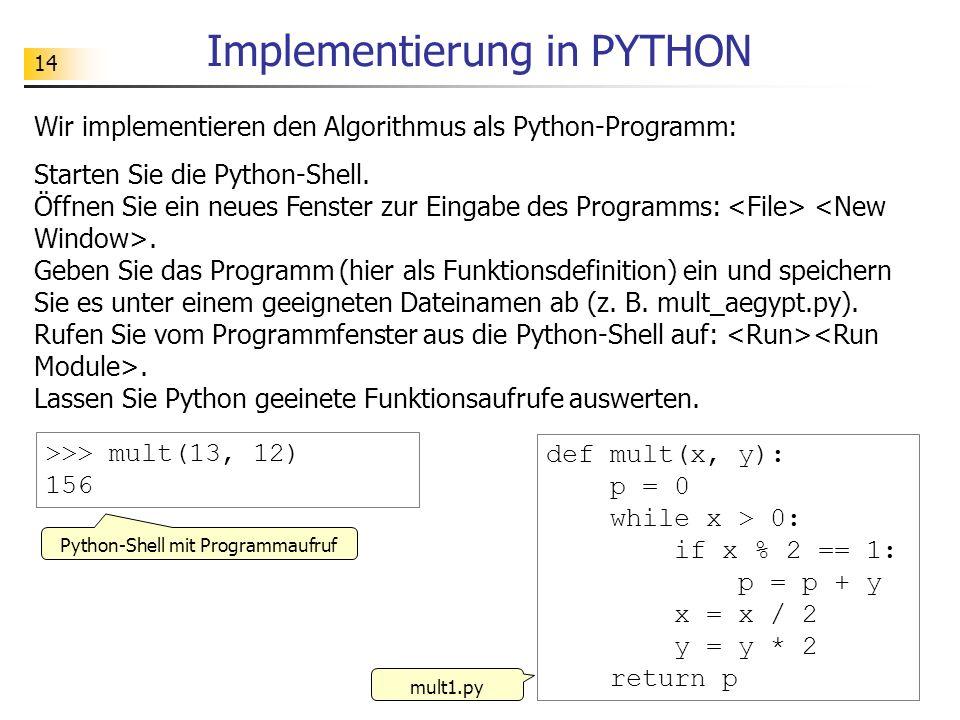 14 Implementierung in PYTHON Wir implementieren den Algorithmus als Python-Programm: Starten Sie die Python-Shell. Öffnen Sie ein neues Fenster zur Ei