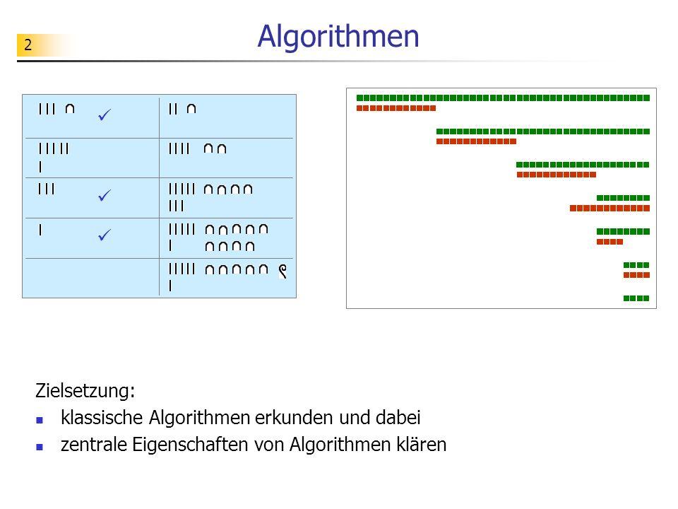 33 Aufgabe Welche Unterschiede lassen sich im Verhalten der vorgeschlagenen Algorithmen beobachten?
