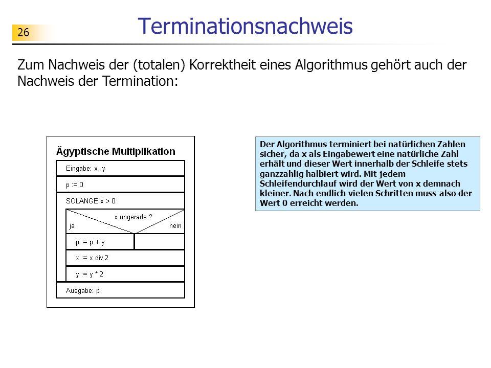 26 Terminationsnachweis Zum Nachweis der (totalen) Korrektheit eines Algorithmus gehört auch der Nachweis der Termination: Der Algorithmus terminiert