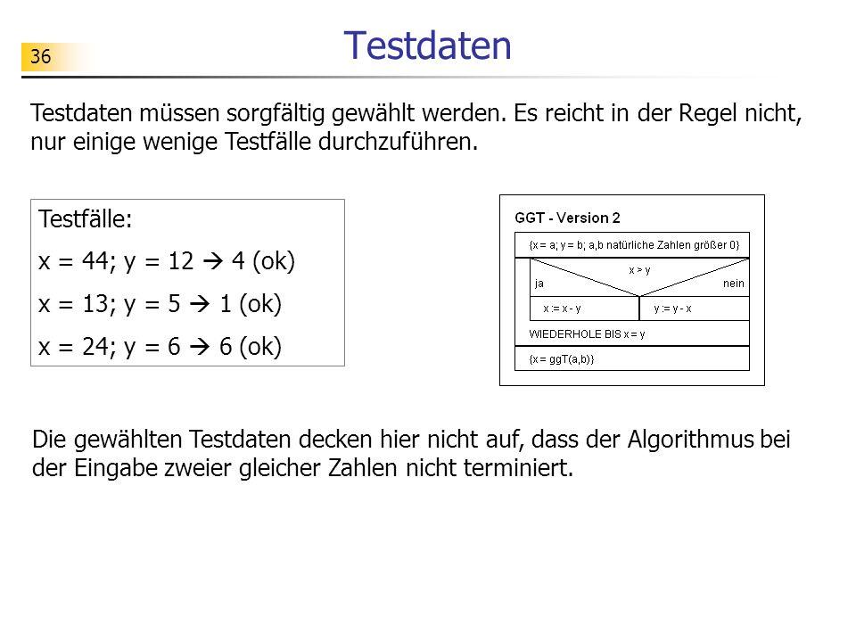 36 Testdaten Testdaten müssen sorgfältig gewählt werden. Es reicht in der Regel nicht, nur einige wenige Testfälle durchzuführen. Testfälle: x = 44; y