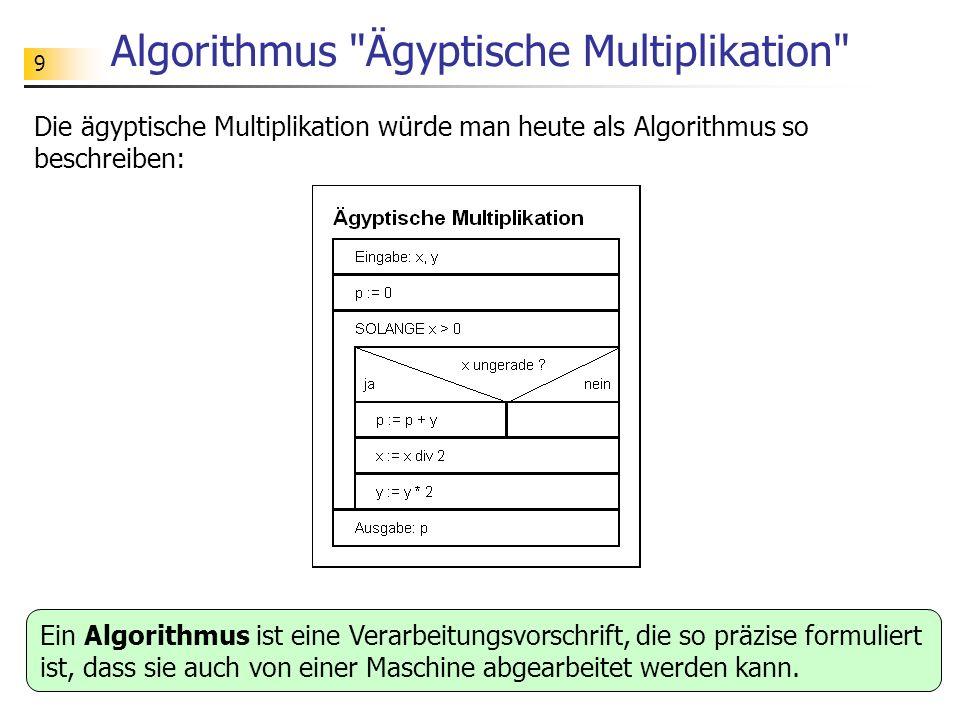 50 Aufgabe Vergleichen Sie die beiden folgenden Algorithmen zum Potenzieren hinsichtlich Laufzeit und Berechnungsaufwand.