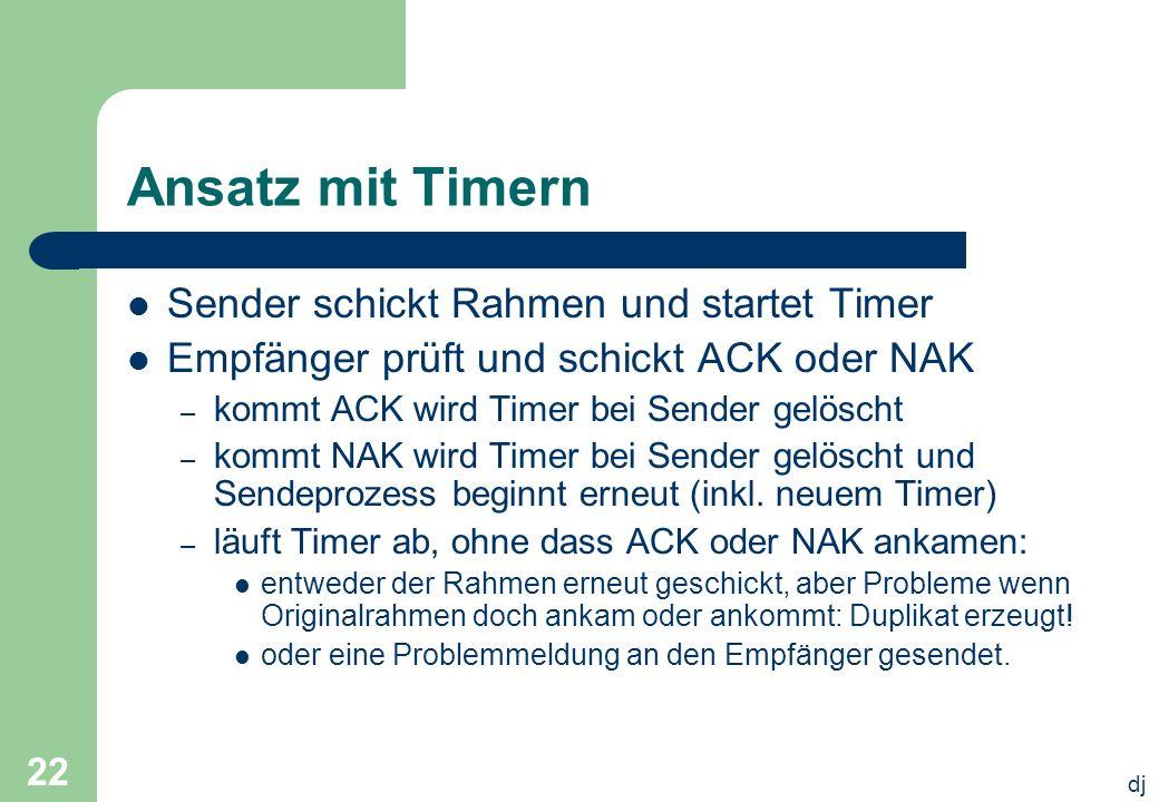 dj 22 Ansatz mit Timern Sender schickt Rahmen und startet Timer Empfänger prüft und schickt ACK oder NAK – kommt ACK wird Timer bei Sender gelöscht –