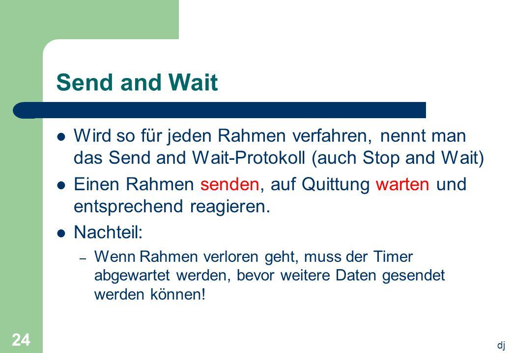 dj 24 Send and Wait Wird so für jeden Rahmen verfahren, nennt man das Send and Wait-Protokoll (auch Stop and Wait) Einen Rahmen senden, auf Quittung w