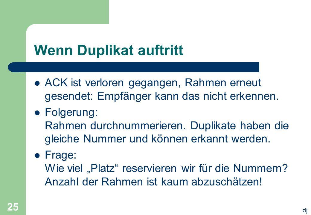 dj 25 Wenn Duplikat auftritt ACK ist verloren gegangen, Rahmen erneut gesendet: Empfänger kann das nicht erkennen. Folgerung: Rahmen durchnummerieren.