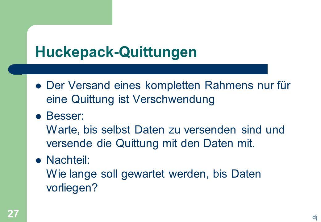 dj 27 Huckepack-Quittungen Der Versand eines kompletten Rahmens nur für eine Quittung ist Verschwendung Besser: Warte, bis selbst Daten zu versenden s