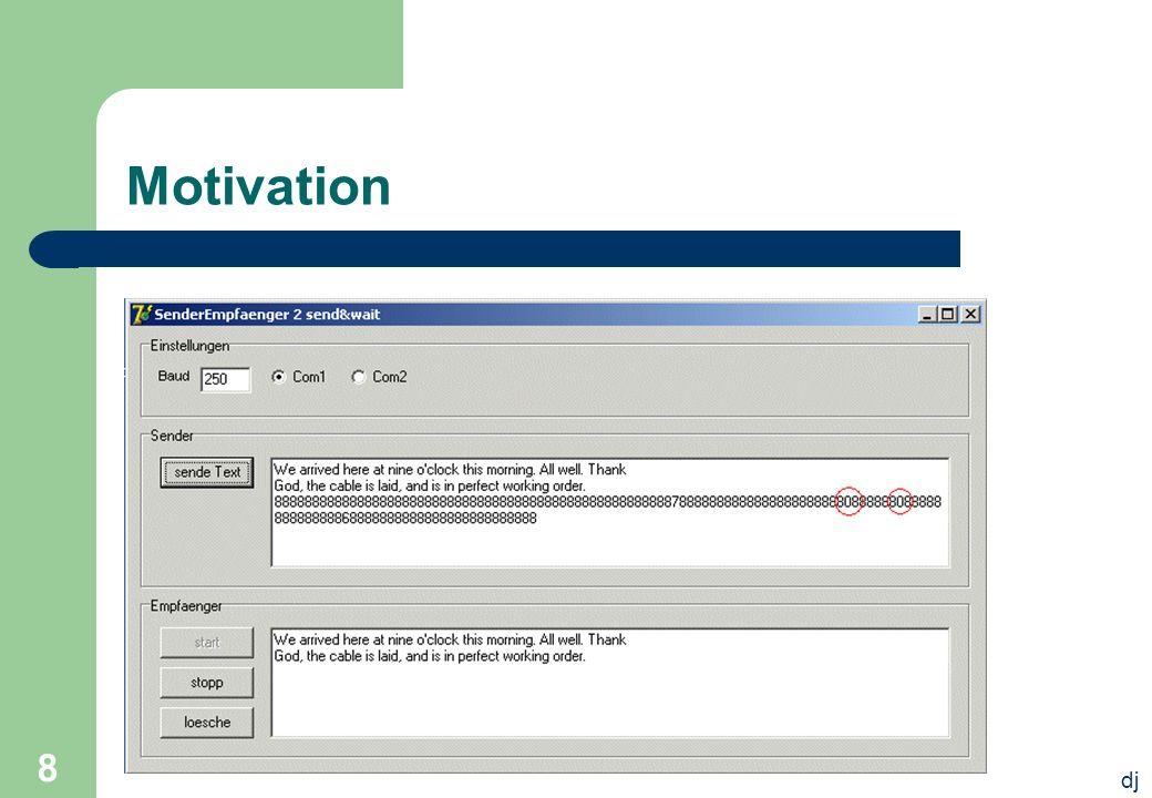 dj 39 Feedback-based Flow Control Der Empfänger sendet nach jedem empfangenen Paket eine Bestätigung an den Sender, dass er wieder empfangsbereit ist Entspricht etwa unserem vorgestellten Quittungsbetrieb
