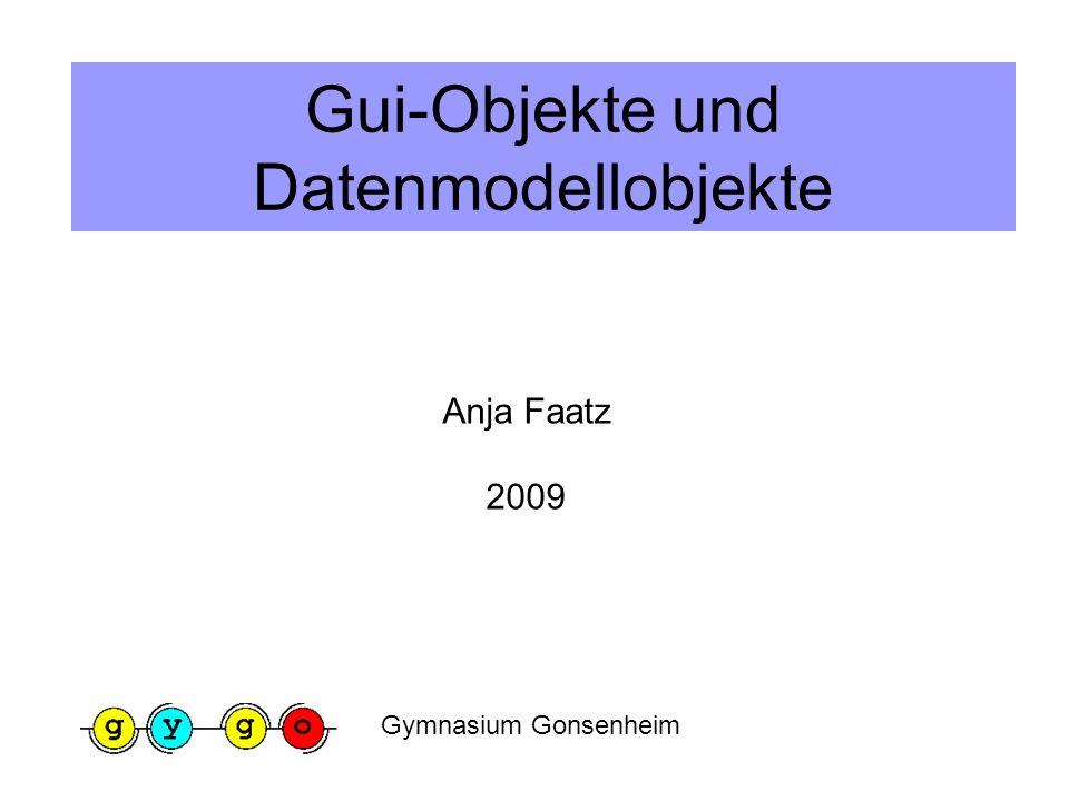 Gui-Objekte und Datenmodellobjekte Anja Faatz 2009 Gymnasium Gonsenheim