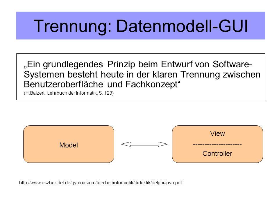 Trennung: Datenmodell-GUI Ein grundlegendes Prinzip beim Entwurf von Software- Systemen besteht heute in der klaren Trennung zwischen Benutzeroberfläche und Fachkonzept (H.Balzert: Lehrbuch der Informatik, S.