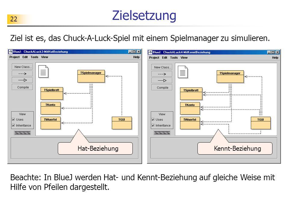 22 Zielsetzung Ziel ist es, das Chuck-A-Luck-Spiel mit einem Spielmanager zu simulieren. Beachte: In BlueJ werden Hat- und Kennt-Beziehung auf gleiche