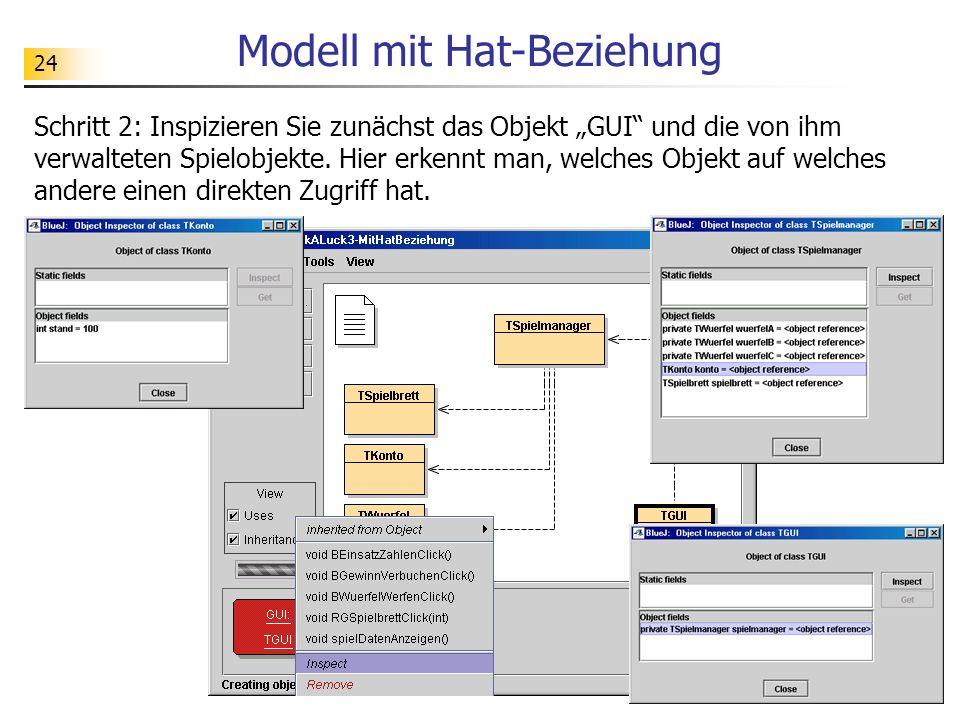 24 Modell mit Hat-Beziehung Schritt 2: Inspizieren Sie zunächst das Objekt GUI und die von ihm verwalteten Spielobjekte. Hier erkennt man, welches Obj