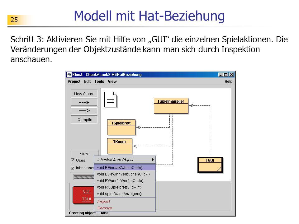 25 Modell mit Hat-Beziehung Schritt 3: Aktivieren Sie mit Hilfe von GUI die einzelnen Spielaktionen. Die Veränderungen der Objektzustände kann man sic
