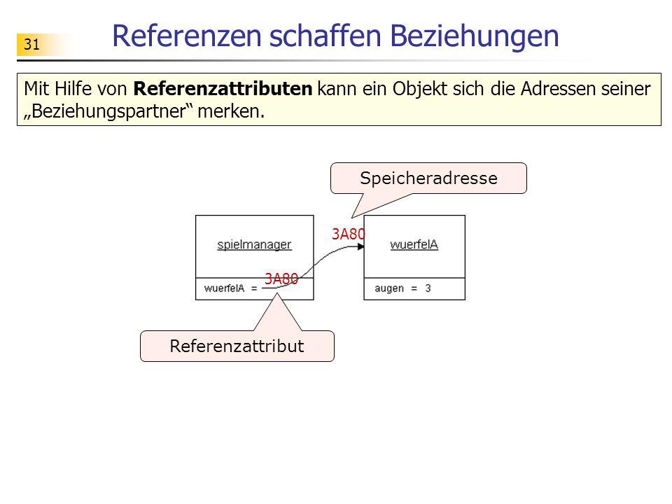 31 Referenzen schaffen Beziehungen 3A80 Speicheradresse Referenzattribut Mit Hilfe von Referenzattributen kann ein Objekt sich die Adressen seiner Bez