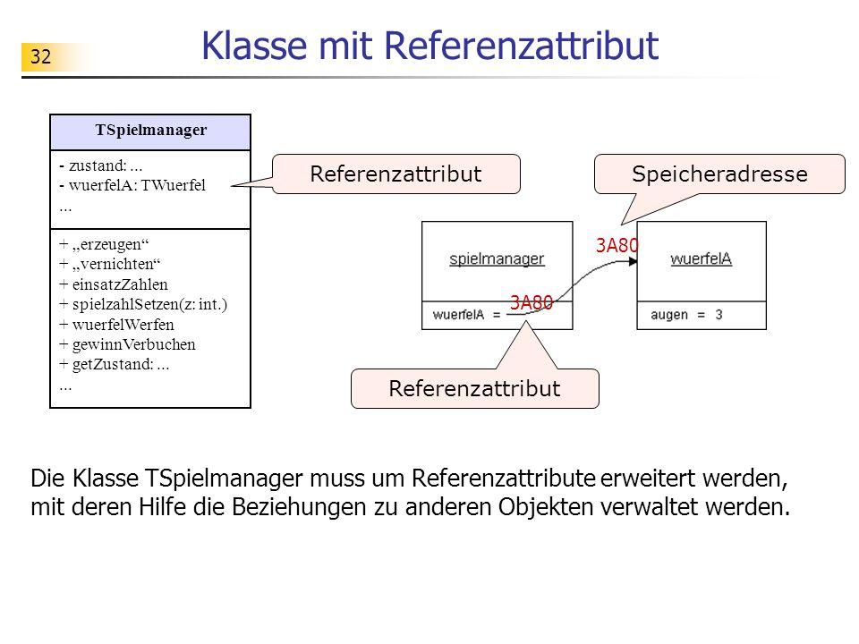 32 Klasse mit Referenzattribut 3A80 Speicheradresse Referenzattribut TSpielmanager - zustand:... - wuerfelA: TWuerfel... + erzeugen + vernichten + ein