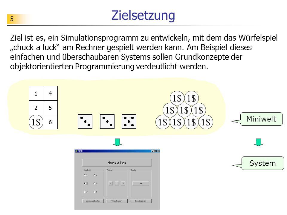 5 Zielsetzung 1$ 1 2 3 4 5 63 3 Miniwelt System Ziel ist es, ein Simulationsprogramm zu entwickeln, mit dem das Würfelspiel chuck a luck am Rechner ge