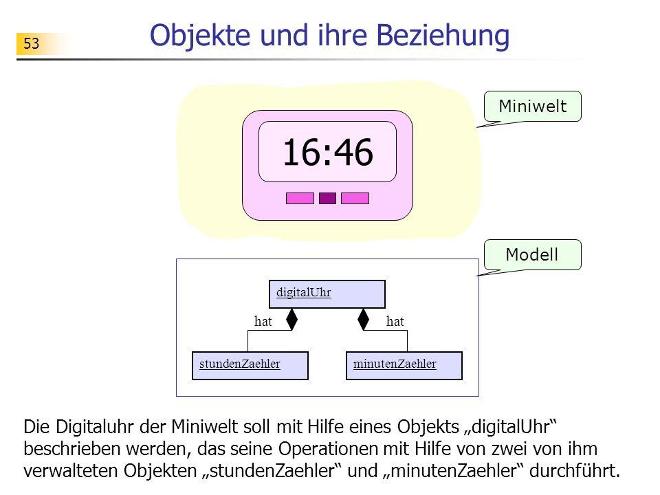 53 Objekte und ihre Beziehung Miniwelt Die Digitaluhr der Miniwelt soll mit Hilfe eines Objekts digitalUhr beschrieben werden, das seine Operationen m