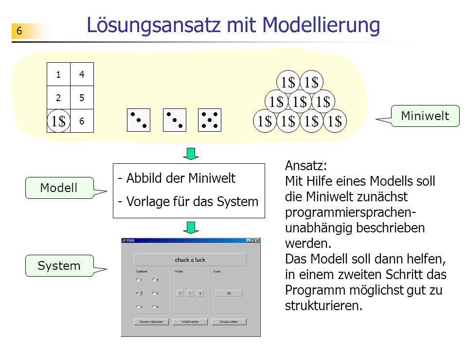6 Lösungsansatz mit Modellierung 1$ 1 2 3 4 5 63 3 Miniwelt System Modell - Abbild der Miniwelt - Vorlage für das System Ansatz: Mit Hilfe eines Model