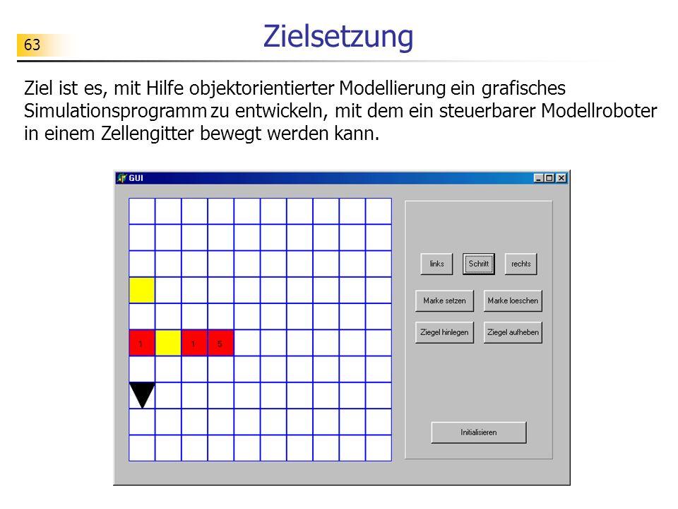 63 Zielsetzung Ziel ist es, mit Hilfe objektorientierter Modellierung ein grafisches Simulationsprogramm zu entwickeln, mit dem ein steuerbarer Modell