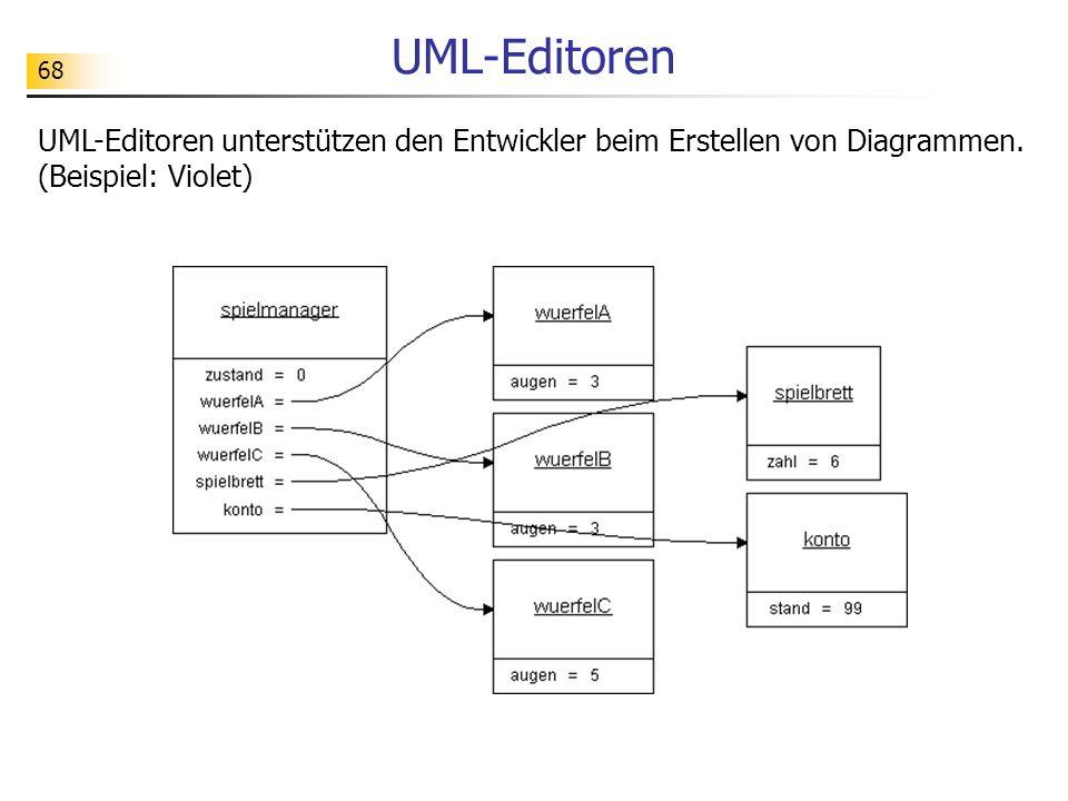 68 UML-Editoren UML-Editoren unterstützen den Entwickler beim Erstellen von Diagrammen. (Beispiel: Violet)