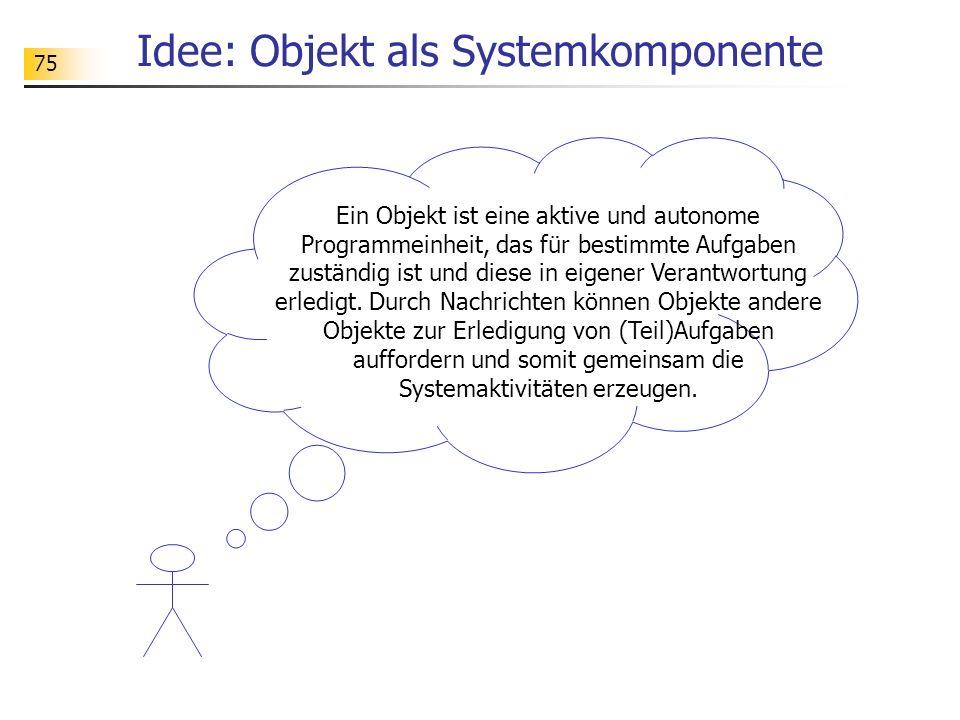 75 Idee: Objekt als Systemkomponente Ein Objekt ist eine aktive und autonome Programmeinheit, das für bestimmte Aufgaben zuständig ist und diese in ei