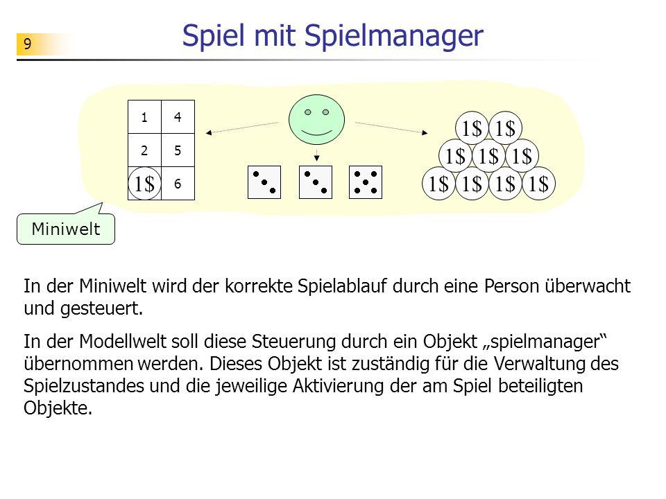 10 Spiel mit Spielmanager spielbrettwuerfelAwuerfelBwuerfelC zahl = 3augen = 3 augen = 5 1$ 1 2 3 4 5 63 3 Miniwelt Modell konto stand = 9 spielmanager...