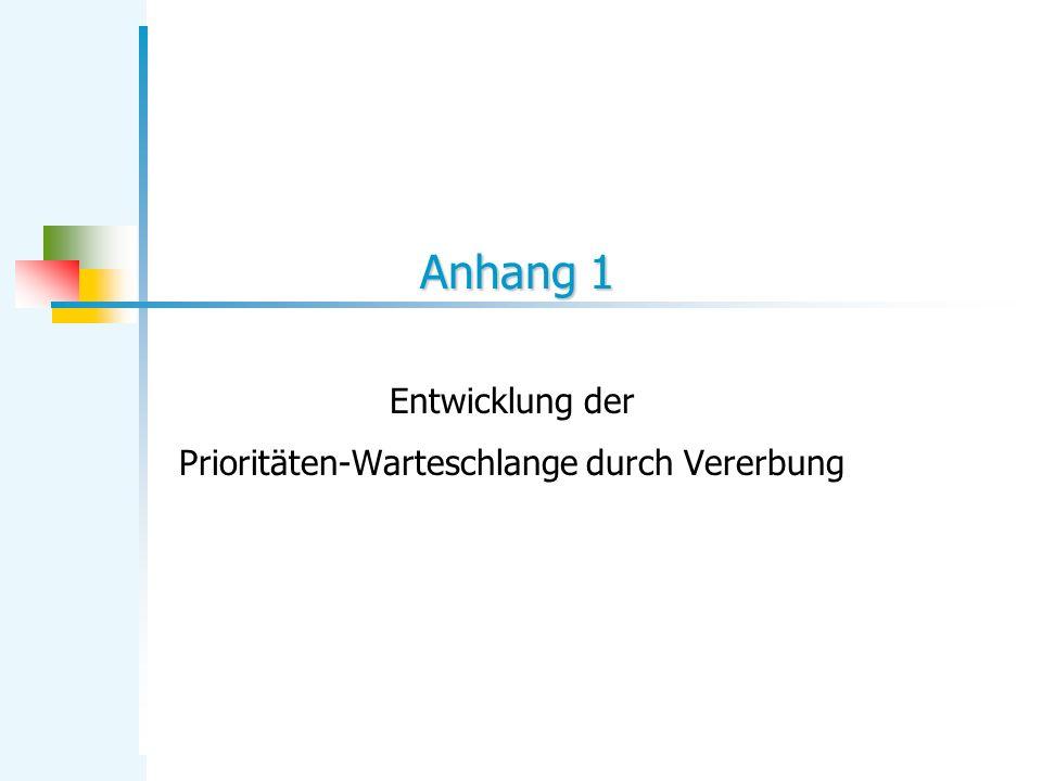 Anhang 1 Entwicklung der Prioritäten-Warteschlange durch Vererbung