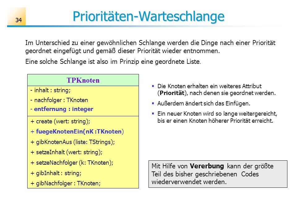 34 Prioritäten-Warteschlange Im Unterschied zu einer gewöhnlichen Schlange werden die Dinge nach einer Priorität geordnet eingefügt und gemäß dieser P