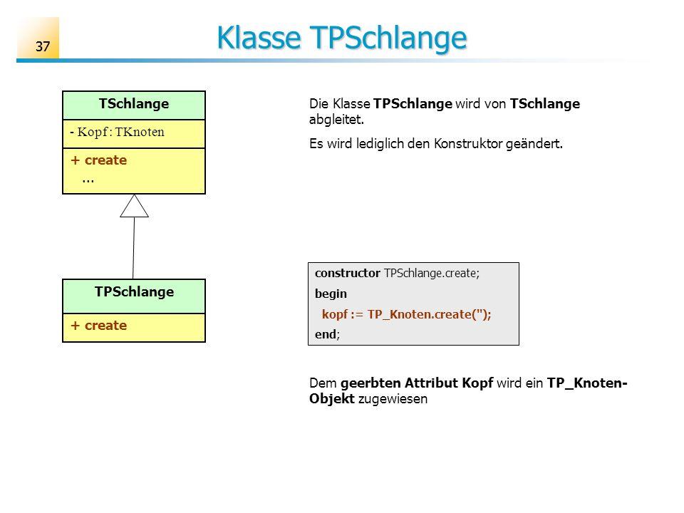 37 Klasse TPSchlange constructor TPSchlange.create; begin kopf := TP_Knoten.create(''); end; TSchlange - Kopf : TKnoten + create... TPSchlange + creat