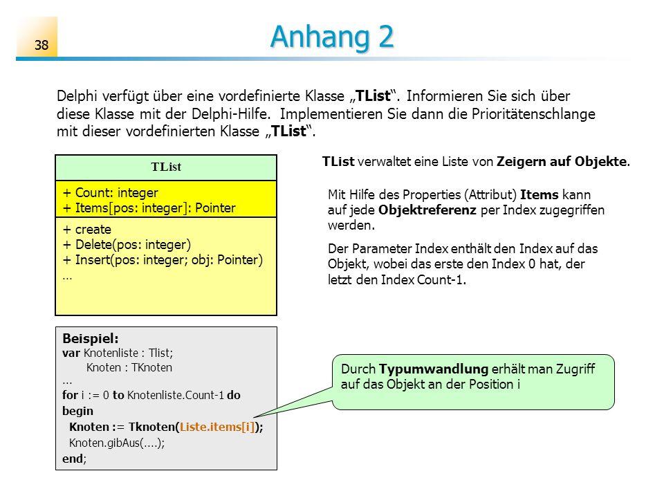 38 Anhang 2 Delphi verfügt über eine vordefinierte Klasse TList. Informieren Sie sich über diese Klasse mit der Delphi-Hilfe. Implementieren Sie dann