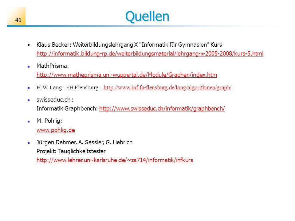 41 Quellen Klaus Becker: Weiterbildungslehrgang X