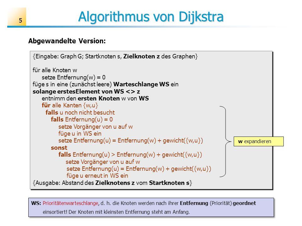 55 Algorithmus von Dijkstra {Eingabe: Graph G; Startknoten s, Zielknoten z des Graphen} für alle Knoten w setze Entfernung(w) = 0 füge s in eine (zunä