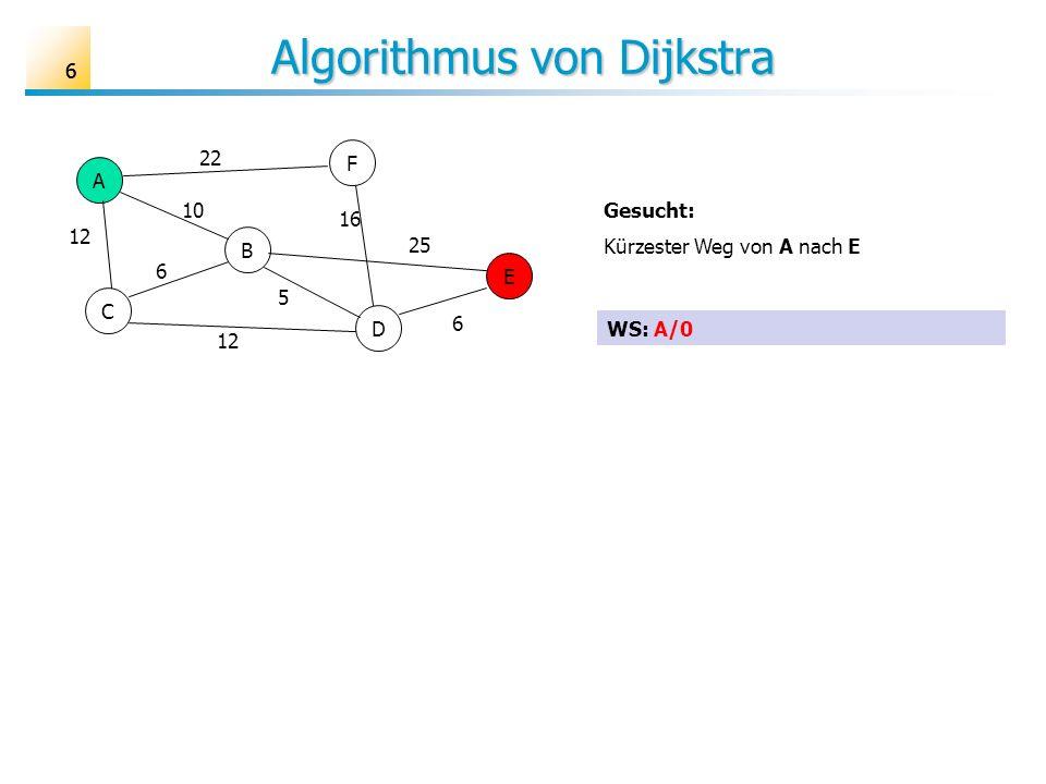 66 Algorithmus von Dijkstra A B C D E F 6 10 12 25 16 22 5 6 Gesucht: Kürzester Weg von A nach E WS: A/0