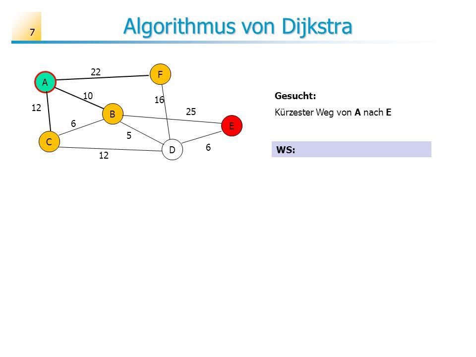 77 Algorithmus von Dijkstra A B C D E F 6 10 12 25 16 22 5 6 Gesucht: Kürzester Weg von A nach E WS: