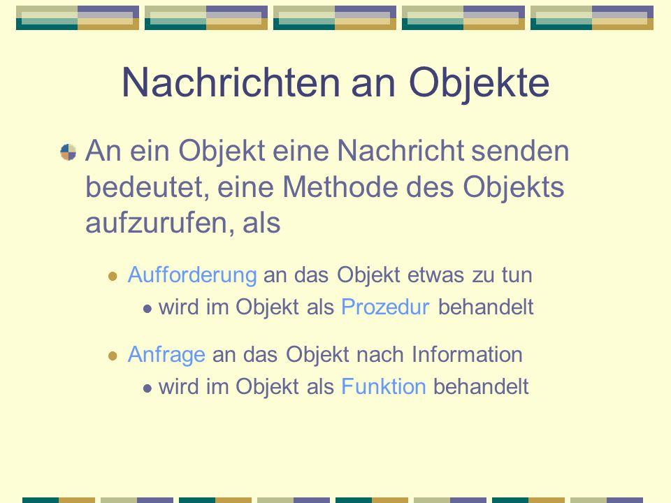 Nachrichten an Objekte An ein Objekt eine Nachricht senden bedeutet, eine Methode des Objekts aufzurufen, als Aufforderung an das Objekt etwas zu tun