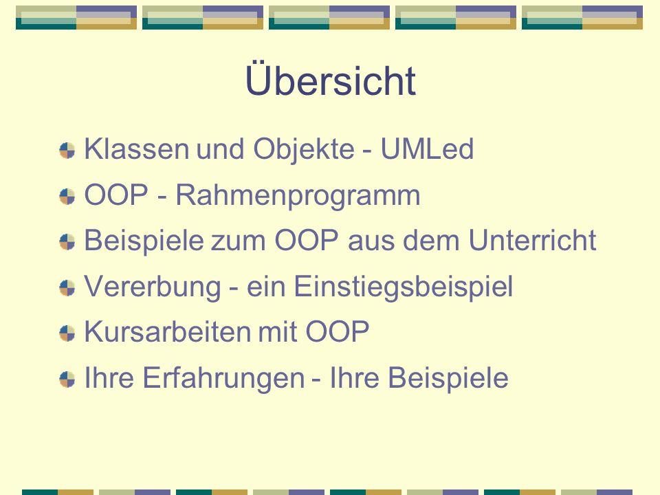Übersicht Klassen und Objekte - UMLed OOP - Rahmenprogramm Beispiele zum OOP aus dem Unterricht Vererbung - ein Einstiegsbeispiel Kursarbeiten mit OOP