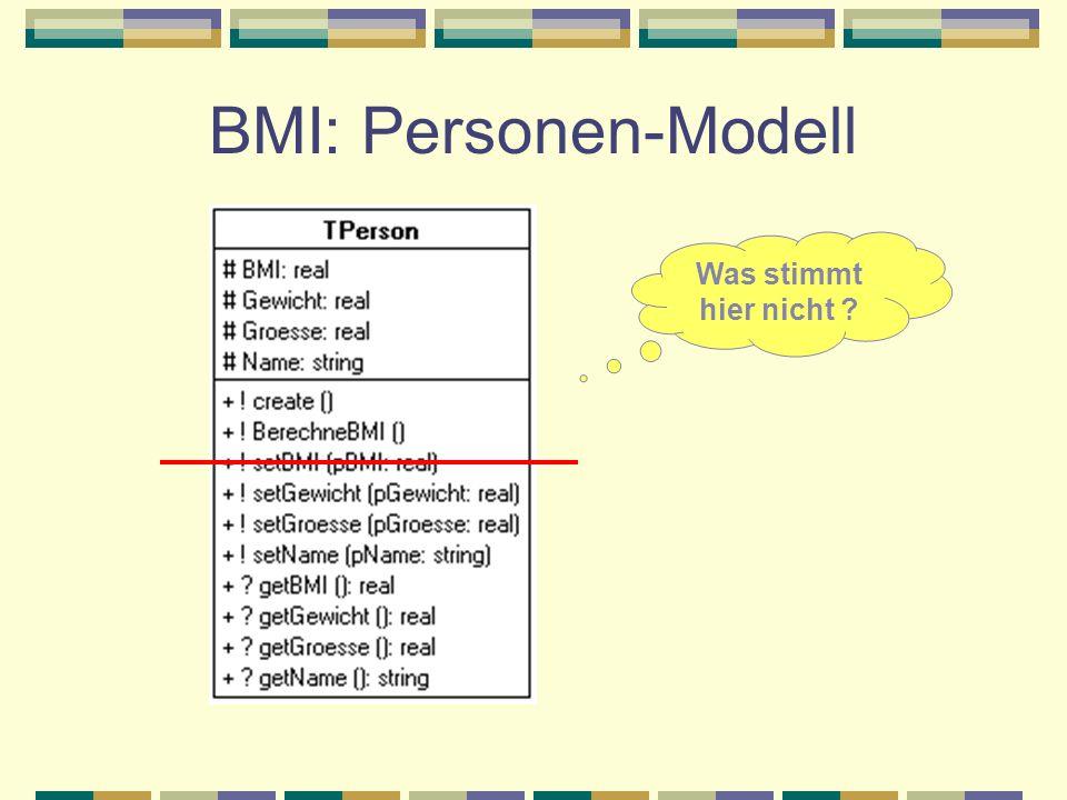 BMI: Personen-Modell Was stimmt hier nicht ?