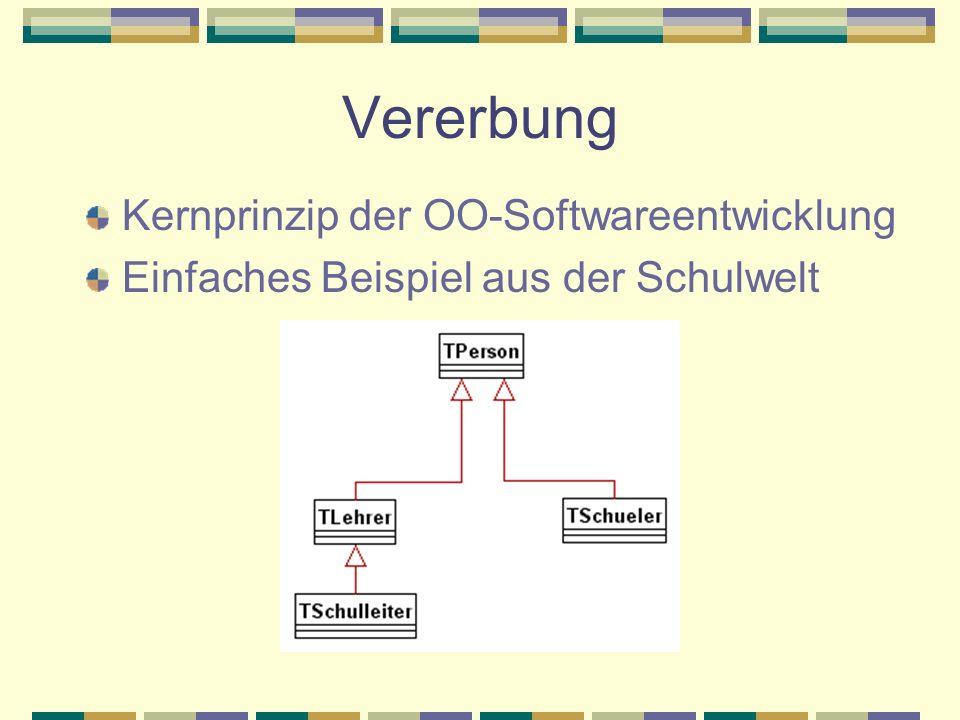 Vererbung Kernprinzip der OO-Softwareentwicklung Einfaches Beispiel aus der Schulwelt